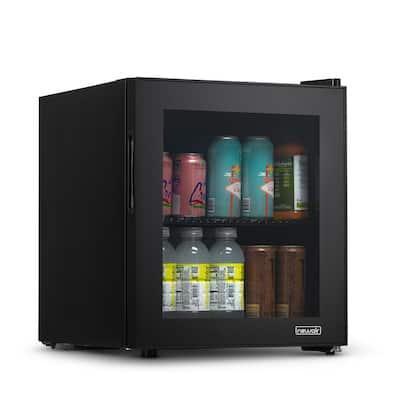 17 in. 60-Can Beverage Refrigerator with Glass Door in Black, Freestanding or Countertop Mini Fridge