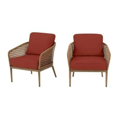 Coral Vista Brown Wicker Outdoor Patio Dining Chair with Sunbrella Henna Red Cushions (2-Pack)