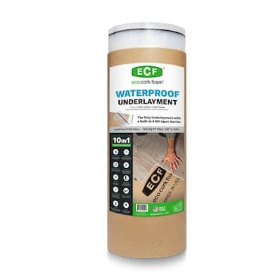 300 sq. ft. 3 ft. x 100 ft. x3.2mm Waterproof Premium Plus 10-in-1 Underlayment-Vinyl Plank, Laminate, EngineeredWood
