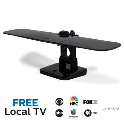 Outdoor Attic HDTV Antenna, 60-Mile Range, Mobile Black Wing Design, VHF UHF 1080P 4K Ready