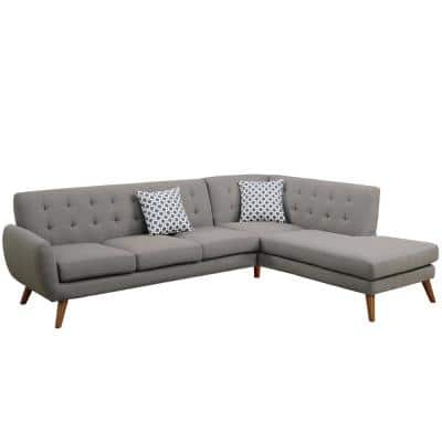 76 in. 2-Piece Gray Tufted Linen L-Shape Sectional Sofa in Gray with Reversible Chaise and Accent Pillows
