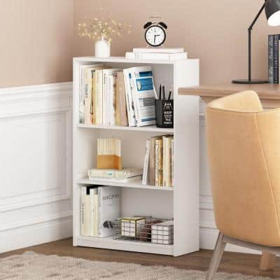 40.3 in. White Wood 3-shelf Standard Bookcase with Adjustable Shelves