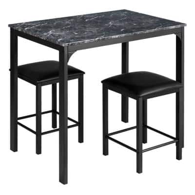 Black 3-Piece Faux Marble Dining Table Set with Upholstered Stools