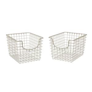 Scoop 12.75 in. D x 9.5 in. W x 8 in. H Small Satin Nickel Steel Wire Storage Bin Basket Organizer (2-Pack)