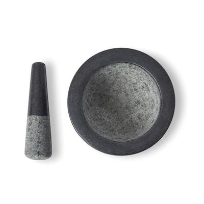 7 in. Dia Black Granite Mortar and Pest