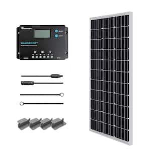 100-Watt 12-Volt Monocrystalline Solar Panel Starter Kit with Wanderer 10 Amp Charger Controller