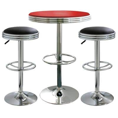 Vintage Style Soda Shop Bar Table Set in Red and Black with Padded Vinyl Stools (3-Piece)