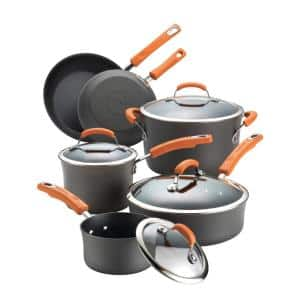 Classic Brights 10-Piece Hard-Anodized Aluminum Nonstick Cookware Set in Orange and Gray
