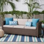 Puerta Brown Wicker Outdoor Sofa with Ceramic Gray Cushions