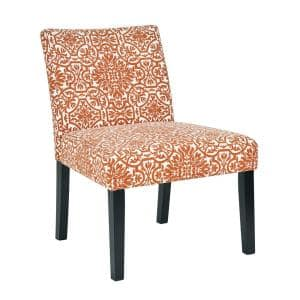 Courteney Burnt Orange Damask Fabric Armless Side Chair