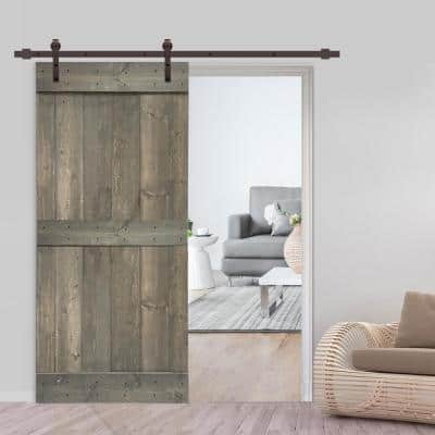 Distressed Mid-Bar 30 in. x 84 in. Weather Gray Stained Solid Pine Wood Interior Sliding Barn Door with Hardware Kit