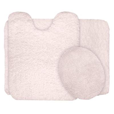 Ivory 19.5 in. x 24 in. Super Plush Non-Slip 3-Piece Bath Rug Set