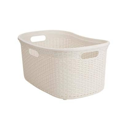 40 Liter Ivory Plastic Laundry Basket with Cutout Handles