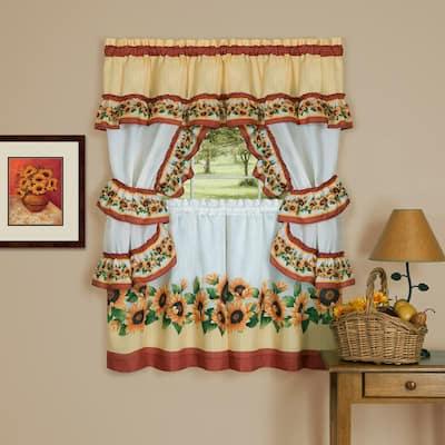 Black Eyed Susan Spice Polyester Light Filtering Rod Pocket Cottage Curtain Set 57 in. W x 36 in. L
