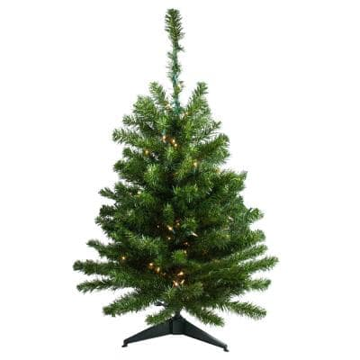 3 ft. Pre-Lit Canadian Pine Artificial Christmas Tree with Clear Lights