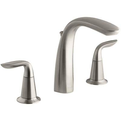 Refinia 2-Handle Deck-Mount Bath Faucet Trim Kit with Diverter in Vibrant Brushed Nickel (Valve Not Included)