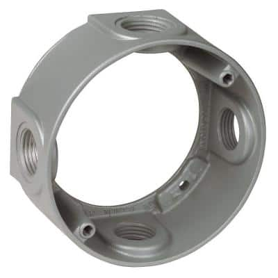 1-Gang Metallic Round Box Extension with 4 1/2 in. Holes