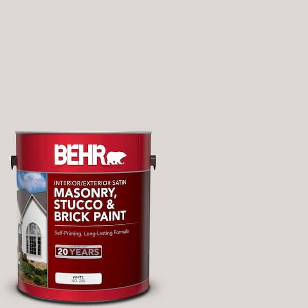 Behr 1 Gal N320 1 Campfire Ash Satin Interior Exterior Masonry Stucco And Brick Paint 28001 The Home Depot