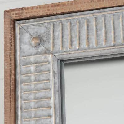Medium Rectangle Galvanized Antiqued Farmhouse Accent Mirror (39 in. H x 27 in. W)