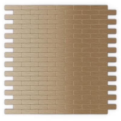 Take Home Sample - Bricky LC Light Copper 4 in. X 4 in. Metal Peel and Stick Wall Mosaic Tile (0.11 sq. ft / Each)