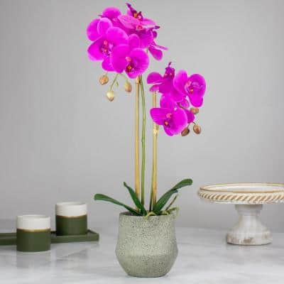 14 in. Purple Artificial Orchid Plant with a Gray Stone Pot