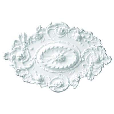 30-1/2 in. x 20 in. x 1-1/2 in. Floral Polyurethane Oval Ceiling Medallion