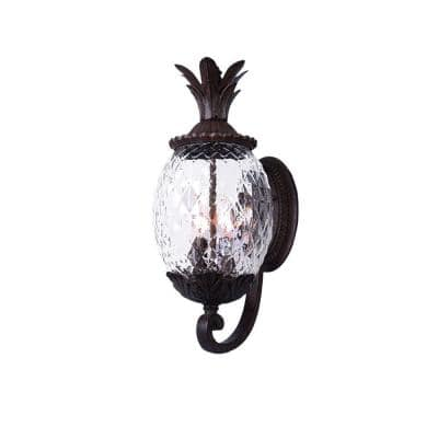 Lanai Collection 3-Light Black Coral Outdoor Wall Lantern Sconce