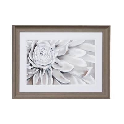 23.5 in. x 17.5 in. Blooming Gray Flower Print in Rectangular Brown Frame