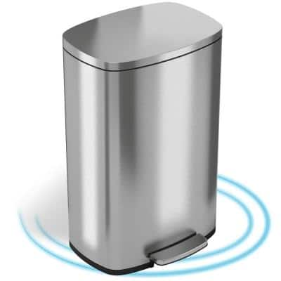 SoftStep 13.2 Gal. Stainless Steel Step Trash Can with Inner Bucket for Office and Kitchen