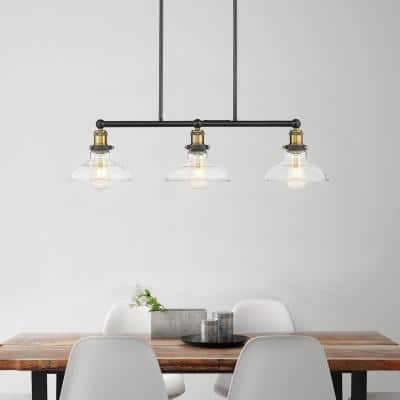 Elgin III 3-Light Pendant Painted Black Finish with Clear Glass Shade