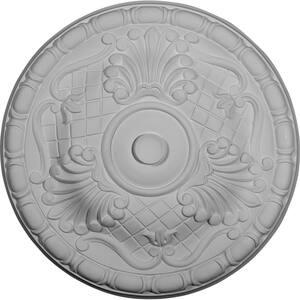 15-3/4'' x 5/8'' Amelia Urethane Ceiling Medallion (Fits Canopies upto 4-1/8''), Primed White