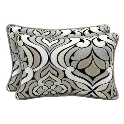 DriWeave Black and Gray Tile Lumbar Outdoor Throw Pillow (2-Pack)