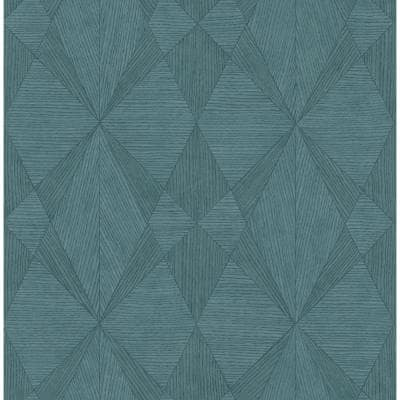 Intrinsic Teal TextuRed Geometric Teal Paper Strippable Roll (Covers 56.4 sq. ft.)
