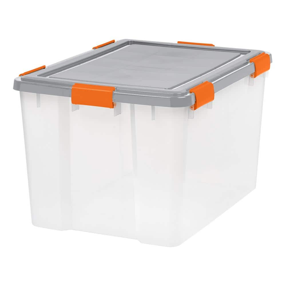 Iris 74 Qt Weathertight Storage Bin In Clear 110588 The Home Depot