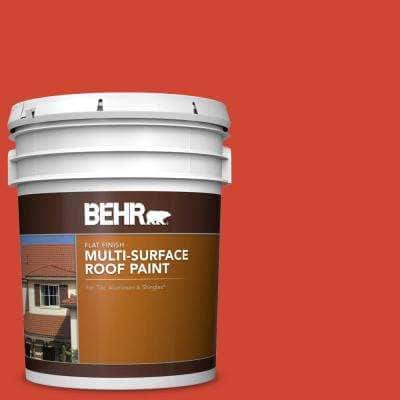 5 gal. #P180-7 Top Tomato Flat Multi-Surface Exterior Roof Paint