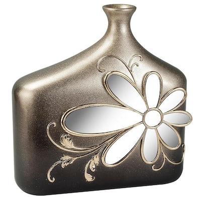 Floral glamour Gold Polyresin Decorative Vase