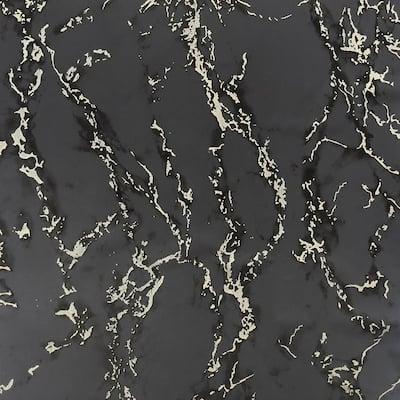 Carrara Marble Charcoal Non-Woven Peel and Stick Wallpaper