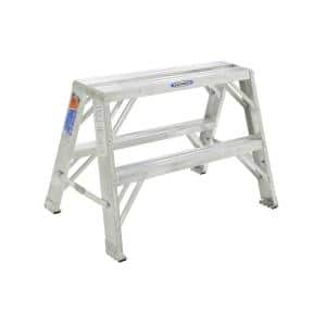 2 ft. Aluminum Extra-Wide Work Stand Step Ladder with 300 lb. Load Capacity Type IA Duty Rating