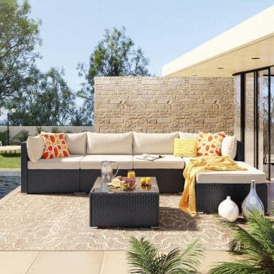 Black 6-Pieces Wicker Outdoor Sectional Set with Beige Cushions