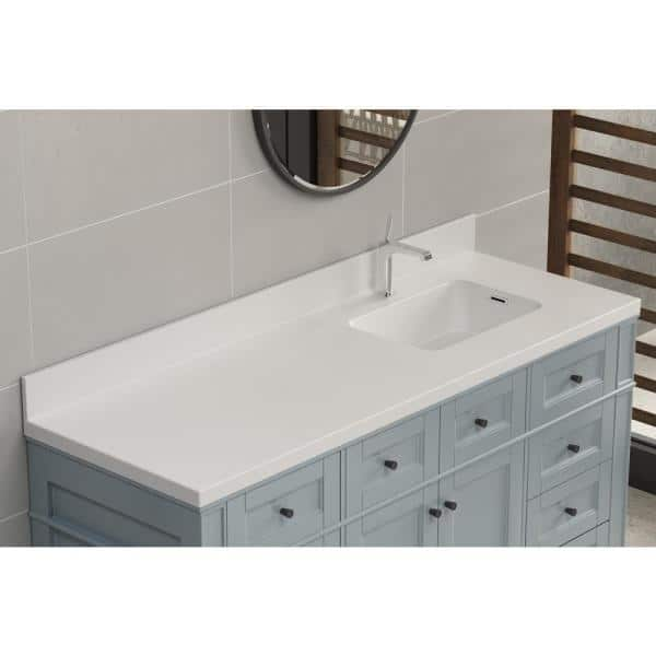 Dyconn True 63 In W Solid Surface Vessel Vanity Top In Matt White With Matt White Basin Ssvt60 The Home Depot