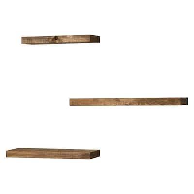 True Floating 5.5 in Dark Walnut Pine Wood Floating Set of Three Decorative Wall Shelves with Brackets