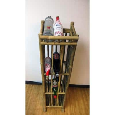 52 in. H x 12.5 in. W x 13 in. D 39-Bottle Natural Bamboo Wine Rack