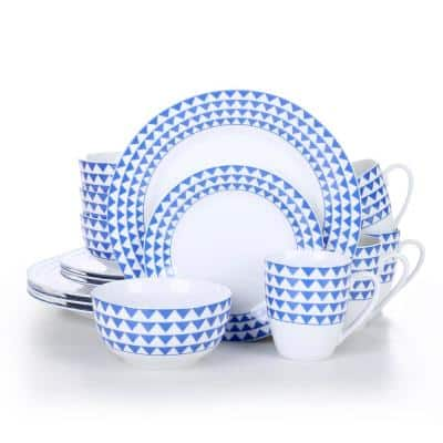 16- Piece Modern Blue Sawtooth Pattern White Porcelain Dinnerware Sets (Service for Set for 4)