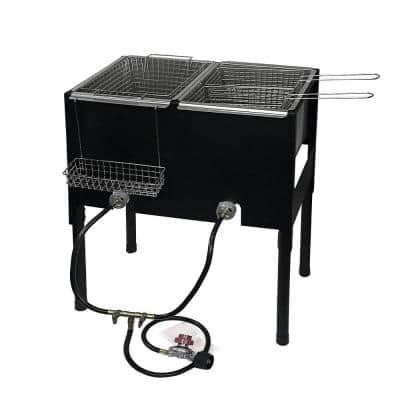 Portable LPG Propane Dual Burner Deep Fryer Outdoor Cooker Station with Triple Fry Baskets