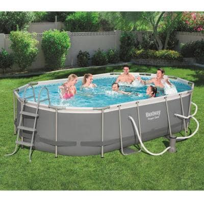 Bestway Power Steel 16 ft. x 10 ft. Metal Above Ground Swimming Pool Set with Pump