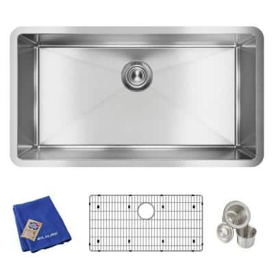 Crosstown Undermount Stainless Steel 33 in. Single Bowl Kitchen Sink with Bottom Grid and Drain