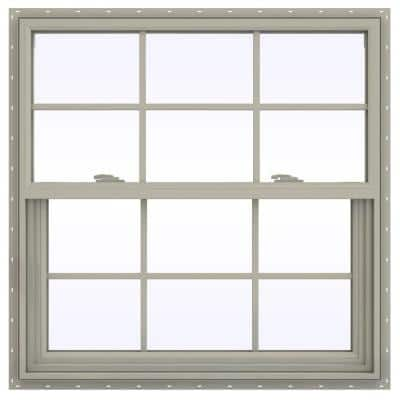 35.5 in. x 35.5 in. V-2500 Series Desert Sand Vinyl Single Hung Window with Colonial Grids/Grilles
