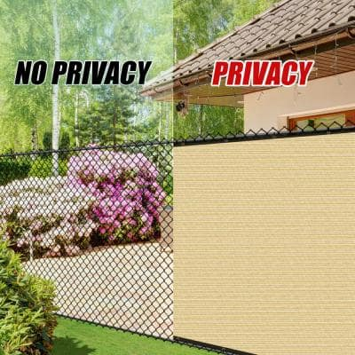 5 ft. x 50 ft. Heavy-Duty PLUS Beige Privacy Fence Screen Mesh Fabric with Extra-Reinforced Grommets for Garden Fence