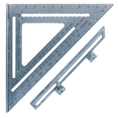 12 in. Aluminum Big 12 Speed Square, Rafter Square with Layout Bar and Blue Book