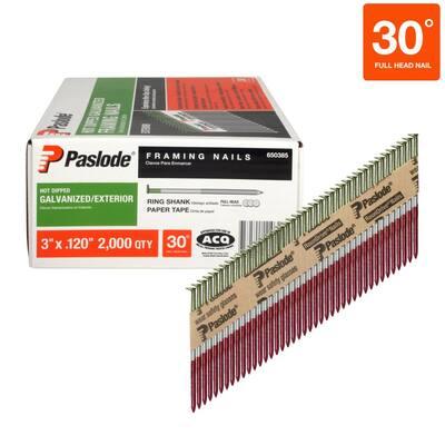 3 in. x 0.120-Gauge 30 -Degree Galvanized Ring Shank Paper Tape Framing Nails (2000 per Box)